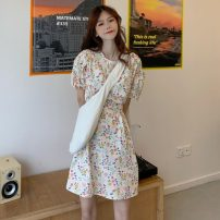 Dress Summer 2021 Picture color Average size Short skirt singleton  Short sleeve commute Crew neck Broken flowers Others 18-24 years old Other / other Korean version 0412L 30% and below other