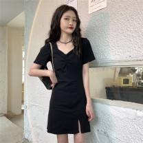 Dress Spring 2021 black Average size Short skirt singleton  Short sleeve commute V-neck Solid color Others 18-24 years old Other / other Korean version 0330L 30% and below other