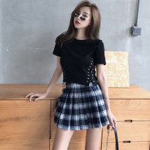 Fashion suit Summer of 2018 S m average Black tie t white tie t blue pleated skirt 18-25 years old Other / other 07107304 31% (inclusive) - 50% (inclusive) polyester fiber