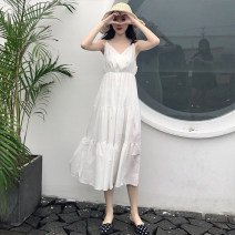 Dress Summer of 2018 Pink white S M L XL Mid length dress singleton  Sleeveless commute V-neck High waist Solid color Socket Big swing other camisole 18-24 years old Type A Other / other Korean version 71% (inclusive) - 80% (inclusive) other polyester fiber