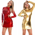 Dress Autumn 2020 Pink, gold, black, laser silver, laser blue, silver white, laser red S,M,L,XL,2XL Short skirt Fake two pieces Long sleeves street Crew neck middle-waisted Solid color Socket One pace skirt routine Others YT512 polyester fiber