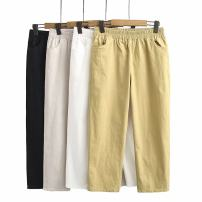 Women's large Summer 2020, autumn 2020 White, black, yellow, grayish white Large XL, large XXL, large XXL, large XXXXL, large XXXXL trousers singleton  moderate Three dimensional cutting uo---1912 25-29 years old Ninth pants