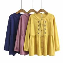 Women's large Autumn 2020 Yellow, pink, navy Large XL, large XXL, large XXL, large XXXXL, large XXXXL shirt singleton  commute moderate Cardigan Long sleeves Korean version cotton Three dimensional cutting ls----6003 25-29 years old