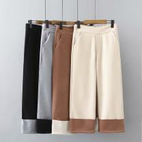 Women's large Winter 2020, autumn 2020 Black, grey, beige, cream Large XL, large XXL, large XXL trousers singleton  commute moderate Korean version Three dimensional cutting je----0096 25-29 years old Ninth pants