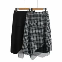 Women's large Spring 2021 Black, gray check Large XL, large XXL, large XXL, large XXXXL, large L skirt singleton  commute thin Solid color Korean version polyester fiber Three dimensional cutting qq----1325 25-29 years old zipper 81% (inclusive) - 90% (inclusive) Short skirt shorts