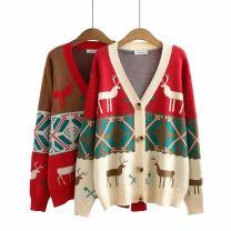 Women's large Autumn 2020 Red, beige Big XXL, big XXXL, big XXXXL sweater singleton  commute moderate Cardigan Long sleeves Korean version Three dimensional cutting GL----0170 25-29 years old
