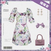 Dress Summer 2021 Purple [long] skirt length 105, purple [short] skirt length 75 S (80-100kg), m (101-110kg), l (111-125kg) commute routine 25-29 years old