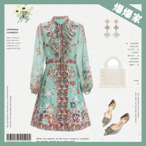 Dress Spring 2021 Picture color (the color of real object is subject to the live broadcast room) M (80-100kg), l (101-110kg), XL (111-120kg), XXL (121-130kg) Short skirt singleton  Long sleeves commute Crew neck High waist Decor Socket A-line skirt routine Others 18-24 years old Type A lady printing
