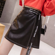 skirt Winter 2021 S,M,L,XL black Short skirt commute High waist A-line skirt Solid color Type A 18-24 years old 51% (inclusive) - 70% (inclusive) other other Lace up, zipper, stitching Korean version