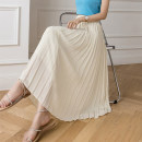 skirt Summer 2021 S,M,L,XL Milky white, black, light green Mid length dress commute High waist A-line skirt Solid color Type A 18-24 years old Zs319 51% (inclusive) - 70% (inclusive) other other Korean version