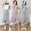 skirt Summer 2021 M, L Green, blue, pink Mid length dress commute High waist Ruffle Skirt Decor Type A 25-29 years old AJ385 51% (inclusive) - 70% (inclusive) Chiffon polyester fiber Asymmetry Korean version