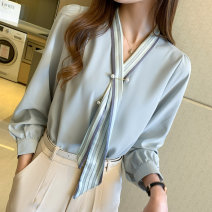 Lace / Chiffon Spring 2021 Lake blue S,M,L,XL,2XL Long sleeves commute Socket singleton  easy Regular V-neck Solid color routine 18-24 years old AJ6027 Printing, stitching, bandage Korean version 51% (inclusive) - 70% (inclusive)
