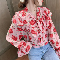 Lace / Chiffon Spring 2021 White, pink, black S,M,L,XL,2XL Long sleeves commute Socket singleton  easy Regular stand collar Decor pagoda sleeve 18-24 years old bow Korean version 51% (inclusive) - 70% (inclusive)