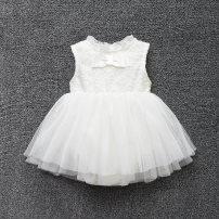 Dress White bow sleeveless skirt female Uni little / UNIWORLD 66cm 73cm 80cm 90cm Other 100% summer princess Skirt / vest Solid color cotton A-line skirt UN0712 Class A 3 months 12 months 6 months 9 months 2 years 3 years old