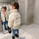 Cotton padded jacket female nothing Cotton 96% and above Other / other Off white, black 80cm,90cm,100cm,110cm,120cm,130cm thickening Zipper shirt Korean version There are models in the real shooting lattice Cotton blended fabric stand collar Cotton liner BLM letter xiaoxiangfeng cotton padded clothes