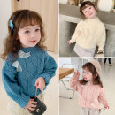 Sweater / sweater 90cm,100cm,110cm,120cm,130cm other female Lake blue, beige, pink Other / other Korean version There are models in the real shooting Socket thickening Crew neck nothing Ordinary wool Solid color DD girl's bow sweater