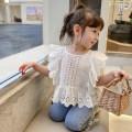 shirt white Other / other female 80cm,90cm,100cm,110cm,120cm,130cm summer Short sleeve Korean version Solid color cotton BLM short sleeve baby shirt