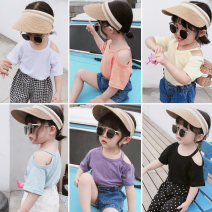 T-shirt summer Korean version There are models in the real shot nothing JY off shoulder multicolor T-shirt Sweat absorption female Other / other 6 months, 12 months, 9 months, 18 months, 2 years old, 3 years old, 4 years old, 5 years old, 6 years old, 7 years old cotton Solid color Short sleeve