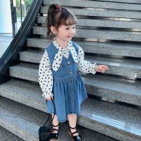 Dress blue female Other / other 80cm,90cm,100cm,110cm,120cm,130cm Other 100% spring and autumn Korean version Skirt / vest Solid color Denim Pleats 12 months, 6 months, 9 months, 18 months, 2 years old, 3 years old, 4 years old, 5 years old, 6 years old, 7 years old