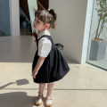Dress Black vest skirt, bow shirt female Other / other 80cm,90cm,100cm,110cm,120cm,130cm Other 100% summer Korean version Skirt / vest Solid color Chiffon Pleats YY academy vest skirt