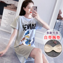 Nightdress Other / other M 80-100kg, l 100-120kg, XL 120-135kg, XXL 135-150kg Simplicity Short sleeve pajamas Middle-skirt summer other youth Crew neck cotton printing 41% (inclusive) - 60% (inclusive) cotton 201 ᦇ many detachable 200g and below