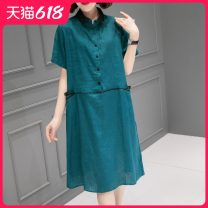 Dress Summer 2021 Mid length dress singleton  Short sleeve commute stand collar Loose waist Solid color Condom routine Others 40-49 years old Type H Han Sheba Li Korean version Splicing 2D2176B More than 95% other hemp Flax 100% Pure e-commerce (online sales only) M L dark blue