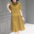 Dress Summer 2021 Khaki grey red pink black M L XL Mid length dress singleton  Short sleeve commute Polo collar Loose waist Solid color Socket other routine Others 40-49 years old Type H Han Sheba Li Korean version Button 5J906B More than 95% other polyester fiber Polyester 100%