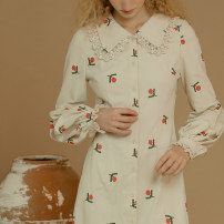 Dress Spring 2021 Xiaoqingti S M L longuette singleton  Long sleeves commute Doll Collar High waist Broken flowers Single breasted routine 25-29 years old ISISLOVE Retro Embroidered button printing DR20306 More than 95% cotton Cotton 100%
