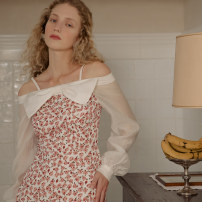 Dress Spring 2021 Annie S M L longuette singleton  Long sleeves Sweet One word collar High waist Solid color Socket A-line skirt routine Others 25-29 years old Type A ISISLOVE Bow and zipper print DR20312 More than 95% polyester fiber Polyester 100% solar system