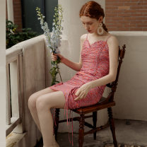 Dress Summer 2020 Rose in the night S M L Short skirt singleton  Sleeveless Sweet Lotus leaf collar High waist Broken flowers Socket One pace skirt 18-24 years old ISISLOVE Pleated open back lace up zipper print DR20094 More than 95% polyester fiber Polyester 100% Countryside