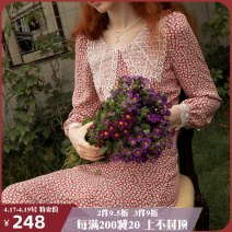 Dress Autumn 2020 singing without instrumental accompaniment S M L longuette singleton  Long sleeves Sweet Doll Collar High waist Broken flowers Socket Big swing routine 25-29 years old ISISLOVE Embroidered zipper printing DR20039 More than 95% Chiffon polyester fiber Polyester 100% Countryside