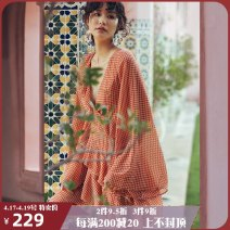Dress Summer of 2019 S M L Short skirt singleton  Long sleeves Sweet V-neck High waist houndstooth  Socket Cake skirt pagoda sleeve Others 25-29 years old Type A ISISLOVE More than 95% Chiffon polyester fiber Polyester 100% Bohemia