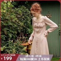 Dress Autumn 2020 Dust on the street S M L longuette singleton  Long sleeves Sweet square neck High waist Solid color Single breasted Lotus leaf sleeve 25-29 years old ISISLOVE Ruffle stitching button DR20011 More than 95% polyester fiber Polyester 100% Countryside