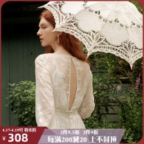 Dress Autumn 2020 Vernacular Lingxi S M L longuette singleton  Long sleeves Sweet square neck High waist Solid color Socket Big swing routine 25-29 years old Type X ISISLOVE Embroidered pleated stitching button zipper lace DR20057 More than 95% polyester fiber Polyester 100% Countryside