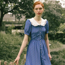 Dress Summer 2020 S M L Short skirt singleton  Short sleeve Sweet Doll Collar High waist Broken flowers Single breasted A-line skirt puff sleeve 25-29 years old Type A ISISLOVE More than 95% polyester fiber Polyester 100% Countryside