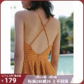 Dress Summer of 2019 Jiangnan S M L Short skirt singleton  Sleeveless Sweet V-neck High waist Dot Socket Big swing camisole 25-29 years old Type A ISISLOVE Open back with lotus leaf More than 95% polyester fiber Polyester 100% solar system