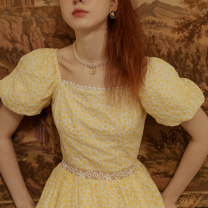 Dress Summer 2021 Holiday time S M L Short skirt singleton  Short sleeve commute square neck High waist Broken flowers Socket A-line skirt routine 25-29 years old Type A ISISLOVE Retro Pleated zipper lace printing DR20136 More than 95% cotton Cotton 100%