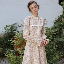 Dress Autumn 2020 Duchamp Garden S M L longuette singleton  Long sleeves Sweet Half high collar High waist Broken flowers Socket Big swing bishop sleeve 25-29 years old Type X ISISLOVE Stitched button zipper with embroidered pleated Auricularia auricula DR20178 More than 95% cotton Cotton 100%