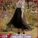 skirt Spring 2021 90CM 100CM Black Earl gauze skirt longuette commute High waist Little black dress Solid color Type A 25-29 years old SK20014 More than 95% Chiffon ISISLOVE polyester fiber Pleated mesh zipper with wool collar lace Retro Polyester 100%