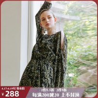 Dress Autumn of 2019 Bright time S M longuette singleton  Long sleeves Sweet Crew neck High waist Decor Socket Big swing bishop sleeve Others 25-29 years old Type X ISISLOVE Pleated lace DR18235 More than 95% polyester fiber Polyester 100% Bohemia