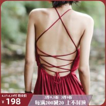 Dress Fall 2017 Empty mountain S M longuette singleton  Sweet Solid color Hanging neck style 25-29 years old Type A ISISLOVE Open back lace Sex empty mountain dress More than 95% Chiffon polyester fiber Polyester 100% Bohemia