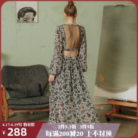 Dress Autumn of 2019 Orchid fragrance S M longuette singleton  Long sleeves commute V-neck High waist Decor other Big swing bishop sleeve Others 25-29 years old Type A ISISLOVE Retro Multi button screen printing DR19109 More than 95% Chiffon polyester fiber Polyester 100%