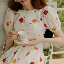 Dress Summer 2020 Flowers dancing and falling S M L Mid length dress singleton  Short sleeve Sweet Doll Collar High waist Decor Socket Big swing puff sleeve 25-29 years old Type X ISISLOVE Button zipper print with open back stitching DR20092 71% (inclusive) - 80% (inclusive) cotton princess