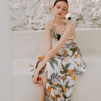 Dress Spring 2021 sea level S M L longuette singleton  Sleeveless Sweet V-neck High waist Decor Socket A-line skirt camisole 25-29 years old Type A ISISLOVE printing DR18135 More than 95% Chiffon polyester fiber Polyester 100% Bohemia