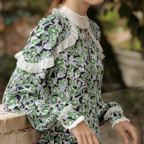 Dress Spring 2021 Wizard of Oz S M L longuette singleton  Long sleeves commute stand collar Broken flowers Socket routine 25-29 years old Type A ISISLOVE Retro Stitched zipper print DR20185 More than 95% Chiffon other Viscose (viscose) 100%