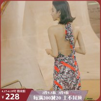 Dress Spring of 2019 I just met you S M L longuette Sleeveless V-neck High waist Socket other other Hanging neck style 25-29 years old ISISLOVE Open back bandage print DR18174 More than 95% polyester fiber Polyester 100%