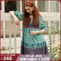 Dress Summer 2020 S M L Middle-skirt singleton  elbow sleeve commute V-neck High waist Decor Socket Big swing bishop sleeve 25-29 years old Type A ISISLOVE ethnic style Pleated bandage printing More than 95% other Viscose (viscose) 100%