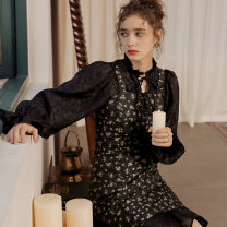 Dress Winter 2020 Black Castle girl S M L Short skirt Two piece set Long sleeves Lotus leaf collar High waist Solid color Socket 25-29 years old ISISLOVE Lace up with zipper SE20023 More than 95% polyester fiber Polyester 100%