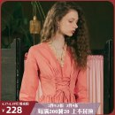 Dress Summer of 2019 Zerenram S M L longuette singleton  Long sleeves Sweet V-neck High waist Solid color Socket Big swing pagoda sleeve Others 25-29 years old Type A ISISLOVE Ruffle pleated Auricularia lace splicing strap zipper DR19051 More than 95% cotton Cotton 100% Bohemia