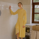 Dress Spring 2021 Spring wind knows dress spring wind knows dress + vest S M L longuette singleton  Long sleeves commute stand collar High waist Solid color Single breasted A-line skirt routine 25-29 years old Type A ISISLOVE Retro Lace up stitching strap button zipper lace DR20286 polyester fiber